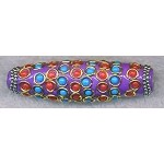 Tibetan Style Bead, Large Hole Focal Bead, 60x18mm, Purple