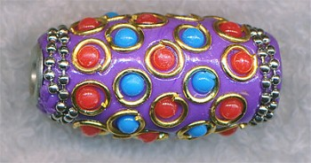 Tibetan Bead, Large Hole Focal Bead, 34x16mm Barrel Beads, Purple