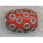 Tibetan Beads, Red 20x15mm Barrel Large Hole Beads