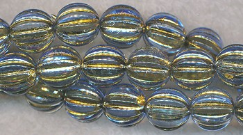 Acrylic Beads, Light Blue with Gold Melon 12mm