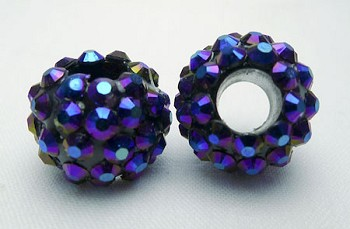 Rhinestone Crystal Studded Large Hole Bead