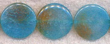 Fire Agate Beads, Blue Coin 30mm