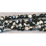 ZSOLOUT - Fire Agate Beads, 8mm Round Black Cream Faceted