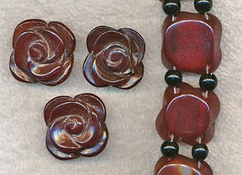 Carved Rose Carnelian Bead, Dark Carnelian Double-Strand Drilled
