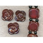 Carnelian Beads, Dark Carved Rose Double-Strand Drilled