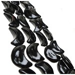 Crescent Moon Beads, Black Moon Crescent Moon Beads with 2mm Hole Glazed Porcelain (2)