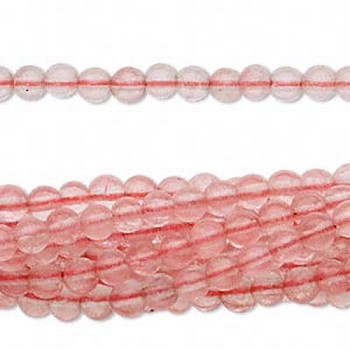 Cherry Quartz Beads, 4mm Round