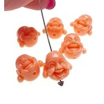 Coral Laughing Buddha Beads