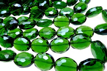 20x16mm Oval Emerald Crystal Beads