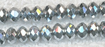 Crystal Beads, 4mm Rondelle BRIGHT METALLIC SILVER