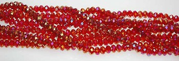 Crystal Beads, 6mm Rondelle RED AB