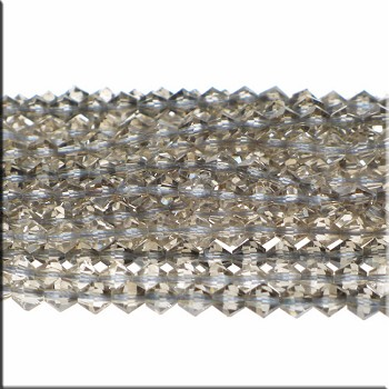 Crystal Beads, 6mm Bicone SILVER GREY