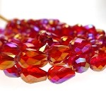 ZSOLDOUT / Teardrop Crystal Beads, RED with Gold Kissed Aura