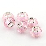 Crystal Large Hole Beads, Pink Big Hole Beads (10)