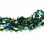 Crystal Beads, 8mm Bicone METALLIC TEAL