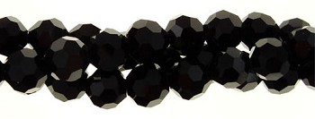 Crystal Beads, 4mm Round BLACK