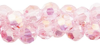 Crystal Beads, 4mm Round LIGHT ROSE AB Pink
