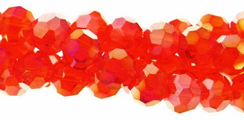 Crystal Beads, 4mm Round DARK ORANGE AB