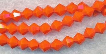 Crystal Beads, 6mm Bicone TANGERINE ORANGE