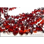 Crystal Beads, 8mm Rondelle RUBY RED with SILVER