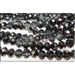 6mm Rondelle Crystal Beads CRYSTAL with HEMATITE