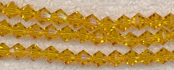 Crystal Beads, 8mm Bicone YELLOW CITRINE