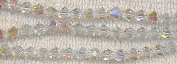 Crystal Beads, 6mm Bicone CRYSTAL AB