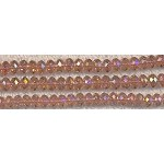 4mm Rondelle Crystal Beads, ROSE AB Pink Crystal Beads