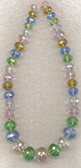Graduated Rondelle Crystal Beads, Spring Mix, 96-cuts
