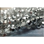 6mm Round Crystal Beads CRYSTAL with Bright SILVER