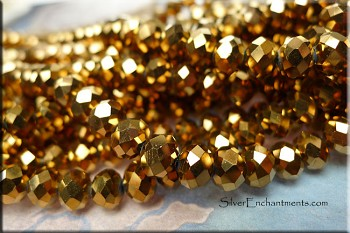 Crystal Beads, 8mm Rondelle BRONZE-GOLD