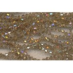 4mm Bicone Crystal Beads LIGHT Brown TOPAZ AB