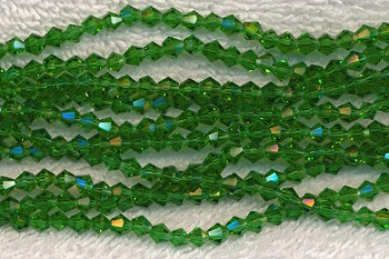 Crystal Beads, 4mm Bicone EMERALD Green