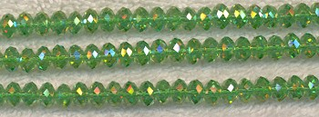 6mm Peridot AB Rondelle Crystal Beads