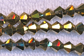 Crystal Beads, 6mm Bicone METALLIC ANTIQUE GOLD