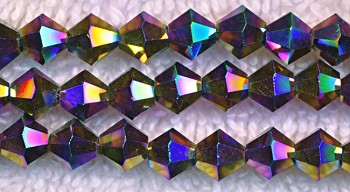 Crystal Beads, 6mm Bicone MULTI METALLIC VOLCANO