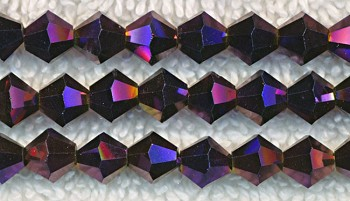 Crystal Beads, Bicone METALLIC PURPLE 6mm