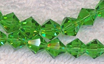 8mm Light Emerald Bicone Crystal Beads
