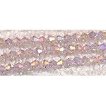 ZSOLDOUT - Crystal Beads, 6mm Bicone LIGHT ROSE AB