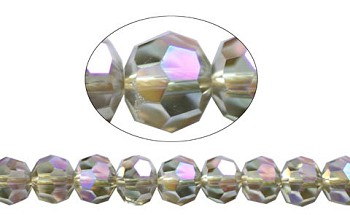 Crystal Beads, 6mm Round SILVER SHADE AB