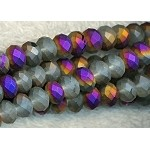 Crystal Beads, 6mm Rondelle MATTE Half PURPLE RAINBOW SHIMMER