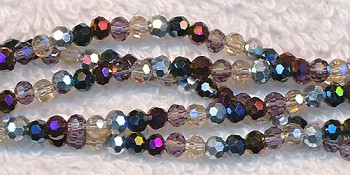 Crystal Beads, 3mm Round Purples and Metallics Mix
