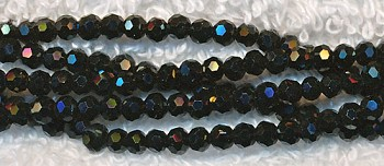3mm Round Black Crystal Beads