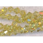 6mm Bicone Crystal Beads Light YELLOW Citrine AB