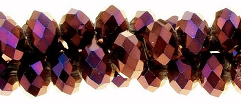 10mm Metallic Burgundy Rondelle Crystal Beads