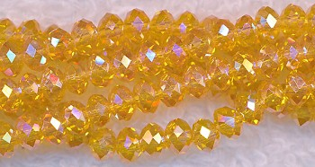 4mm Rondelle Crystal Beads Canary YELLOW AB