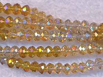 4mm Rondelle Crystal Beads YELLOW Designer Mix