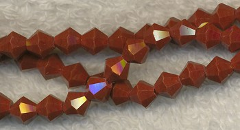 Crystal Beads, 6mm Bicone RED CHOCOLATE UMBER