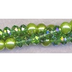 Glass Pearls and Crystal Beads, GREEN Mix, 8mm