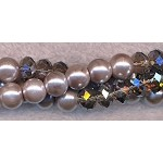 ZSOLDOUT - Glass Pearls and Crystal Beads, 8mm, Grey and Smoky Quartz